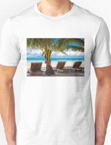 Sunbeds on exotic tropical palm beach Unisex T-Shirt
