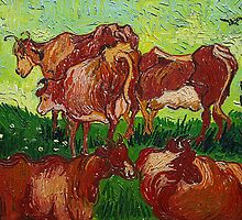 'Les Vaches' by Vincent Van Gogh (Reproduction) by Roz Abellera Art