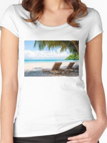 Sunbeds on exotic tropical palm beach Women's Fitted Scoop T-Shirt