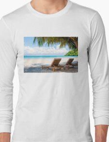 Sunbeds on exotic tropical palm beach Long Sleeve T-Shirt