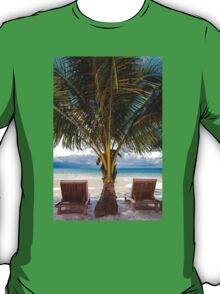 Sunbeds on exotic tropical palm beach T-Shirt