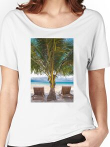 Sunbeds on exotic tropical palm beach Women's Relaxed Fit T-Shirt