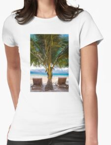 Sunbeds on exotic tropical palm beach Womens Fitted T-Shirt
