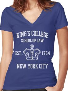 HAMILTON BROADWAY MUSICAL King's College School of Law Est. 1854 Greatest City in the World Women's Fitted V-Neck T-Shirt