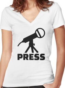 Press microphone Women's Fitted V-Neck T-Shirt