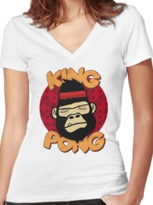 King Pong Women's Fitted V-Neck T-Shirt