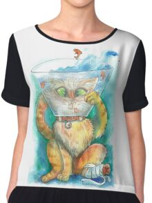 watercolour injured kitty Chiffon Top