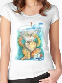 watercolour injured kitty Women's Fitted Scoop T-Shirt