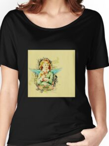 Rustic,vintage,reproduction,collage,angel girl,floral,shabby chic Women's Relaxed Fit T-Shirt