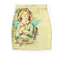 Rustic,vintage,reproduction,collage,angel girl,floral,shabby chic Mini Skirt