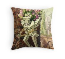 Wooden Robot Throw Pillow