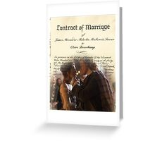Wedding contract/Jamie & Claire Greeting Card
