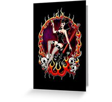 Rockabilly Rockabella (Black) Greeting Card