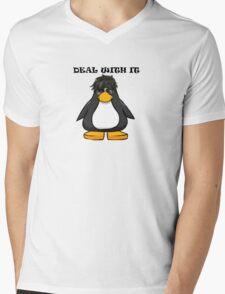 Deal With It Penguin Mens V-Neck T-Shirt