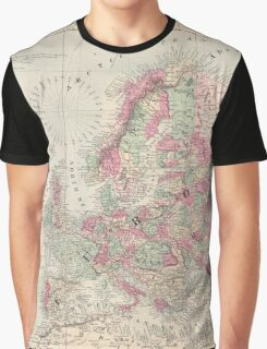 Vintage Map of Europe (1864) Graphic T-Shirt