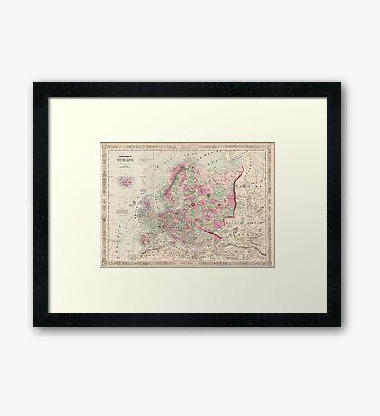 Vintage Map of Europe (1864) Framed Print