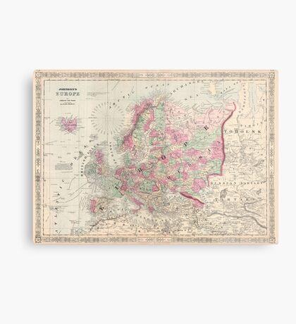 Vintage Map of Europe (1864) Metal Print