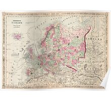 Vintage Map of Europe (1864) Poster