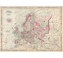 Vintage Map of Europe (1864) Photographic Print