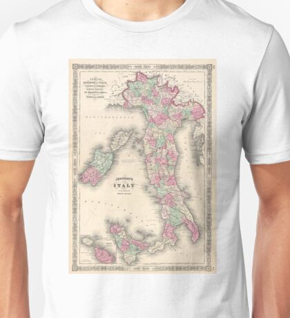 Vintage Map of Italy (1864) Unisex T-Shirt