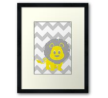 Lion Baby Room - Yellow - Gray Framed Print