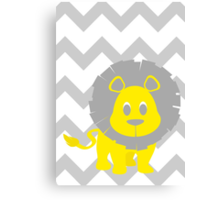 Lion Baby Room - Yellow - Gray Canvas Print