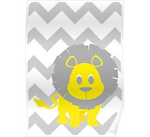 Lion Baby Room - Yellow - Gray Poster