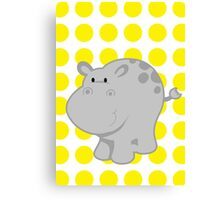Hipopotam Baby Room - Yellow - Gray Canvas Print
