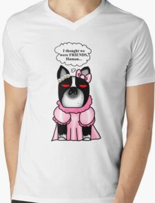 Boston Terrier: I thought we were friends. Mens V-Neck T-Shirt