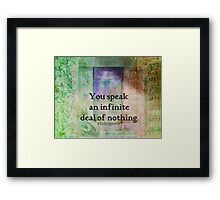 Shakespeare insult Quote from Merchant of Venice Framed Print