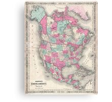 Vintage Map of North America (1864) Canvas Print