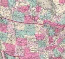 Vintage Map of North America (1864) Sticker