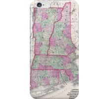 Vintage Map of New England States (1864) iPhone Case/Skin