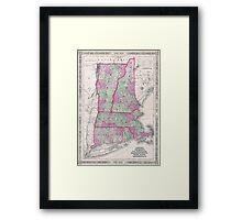Vintage Map of New England States (1864) Framed Print