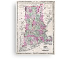 Vintage Map of New England States (1864) Canvas Print