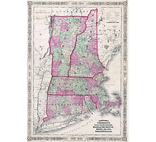 Vintage Map of New England States (1864) Photographic Print