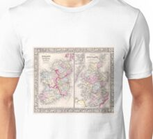 Vintage Map of Ireland and Scotland (1864) Unisex T-Shirt