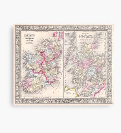 Vintage Map of Ireland and Scotland (1864) Metal Print