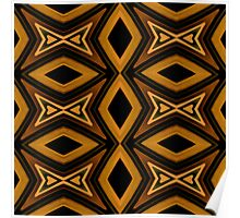 Tribal Diamonds Pattern Brown Colors Abstract Design Poster