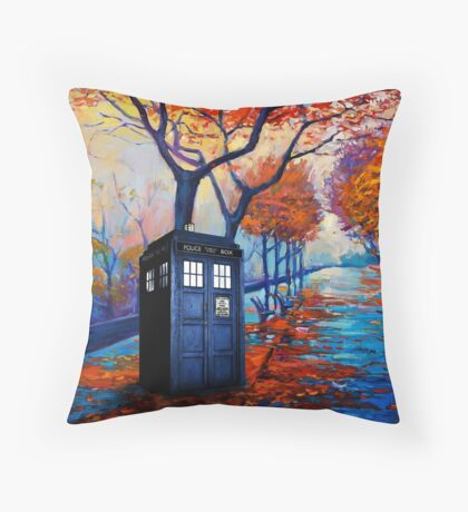 Tardis Autumn Alley Throw Pillow