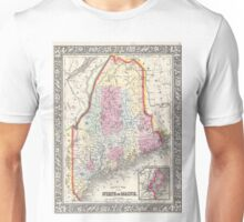 Vintage Map of Maine (1864) Unisex T-Shirt
