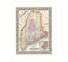 Vintage Map of Maine (1864) Art Print