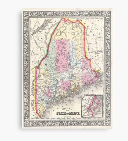 Vintage Map of Maine (1864) Metal Print