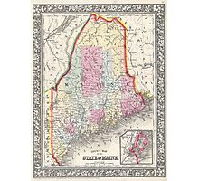 Vintage Map of Maine (1864) Photographic Print