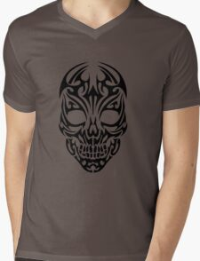 Tribal Skull Design Mens V-Neck T-Shirt