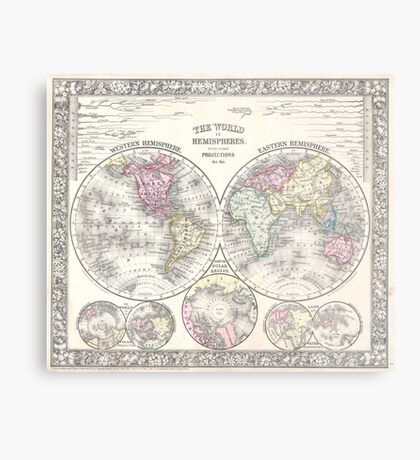 Vintage Map of The World (1864) 3 Metal Print