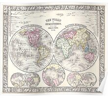 Vintage Map of The World (1864) 3 Poster