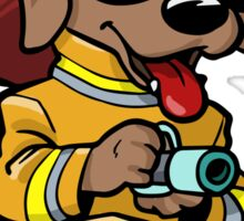 Fire fighter cartoon dog Sticker