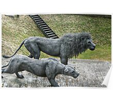 Lion Sculptures by the Tower Poster