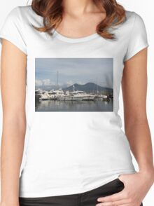 Vesuvius Volcano and the Boats in Naples, Italy Harbor Women's Fitted Scoop T-Shirt